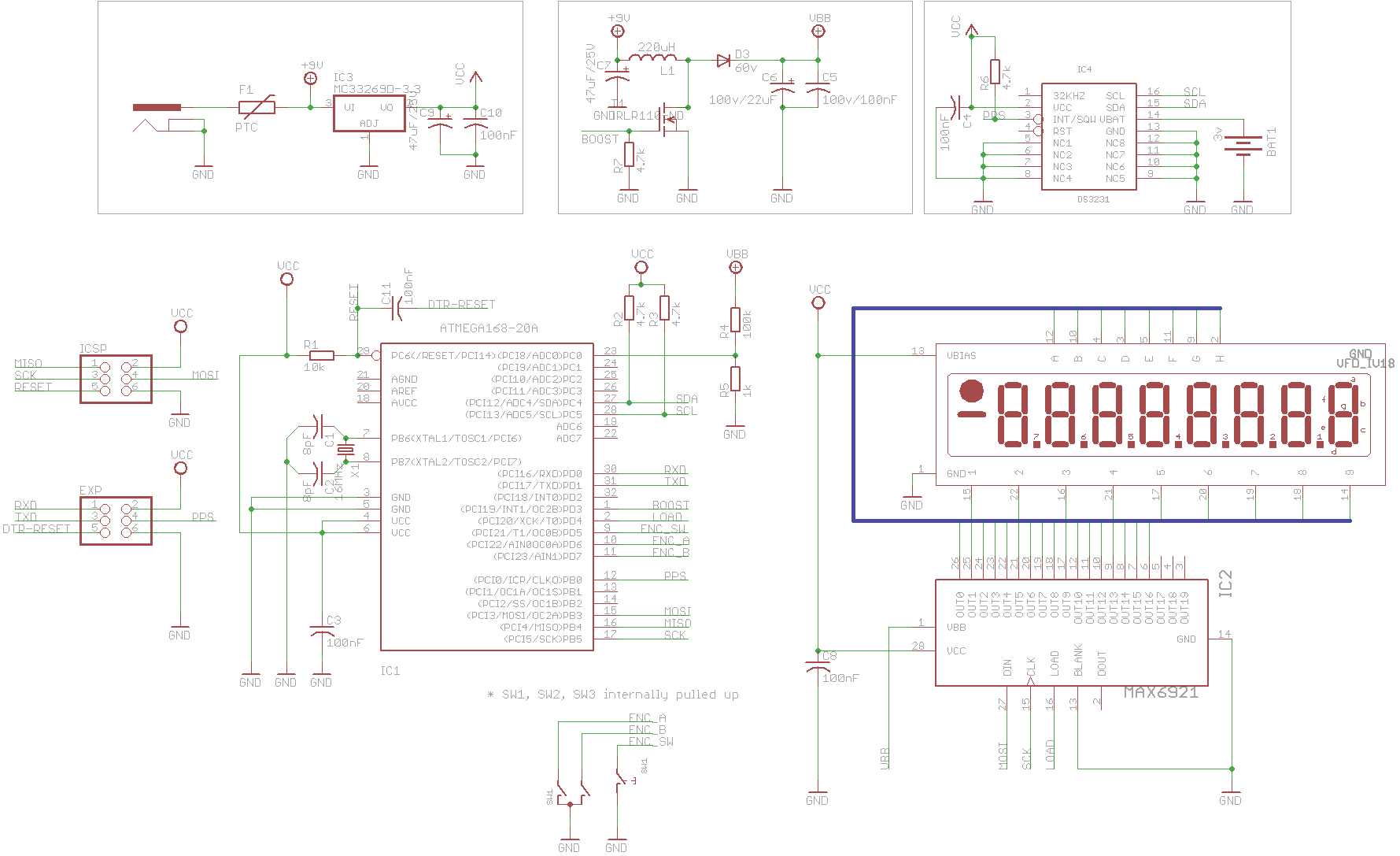 The Tc18 My Iv 18 Based Vfd Tube Clock Nixie Circuit Schematic